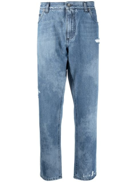 Dolce & Gabbana bleached effect cropped jeans