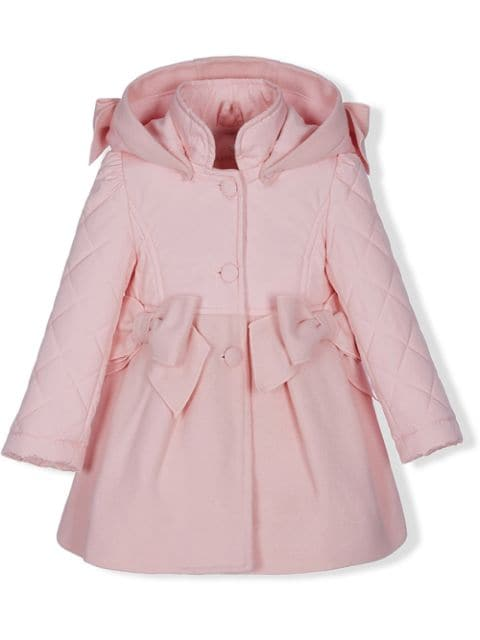 Lapin House bow detail hooded coat