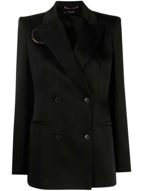 Versace O-ring cutout double-breasted blazer