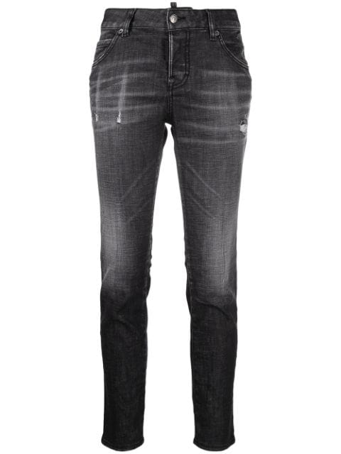 Dsquared2 distressed-effect logo-patch denim jeans