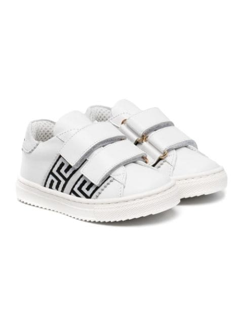 Young Versace touch-strap leather sneakers
