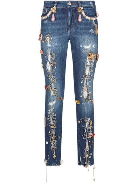 Dolce & Gabbana Pretty-fit decorated jeans