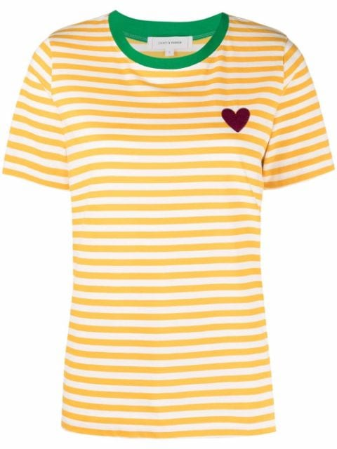 Chinti and Parker embroidered heart striped T-shirt