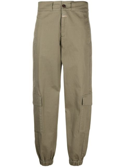 Closed tapered-leg cargo trousers