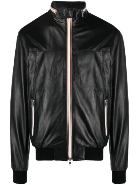 Low Brand hooded zip-up leather jacket