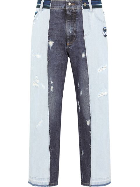 Dolce & Gabbana distressed-finish mixed jeans