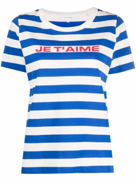 Chinti and Parker Je t'aime striped T-shirt