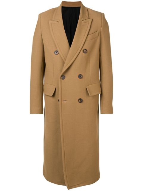 AMI patched pockets double-breasted long lined coat