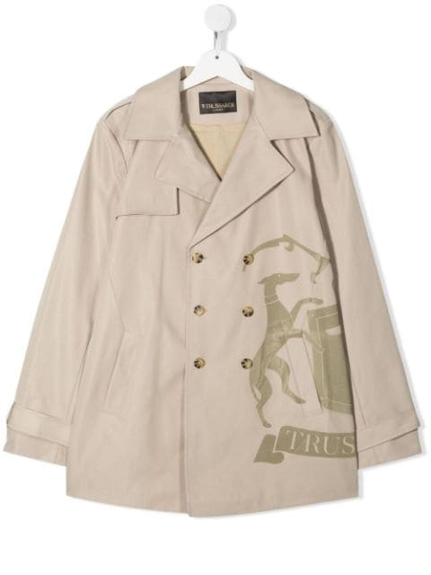 TRUSSARDI JUNIOR TEEN double-breasted trench coat