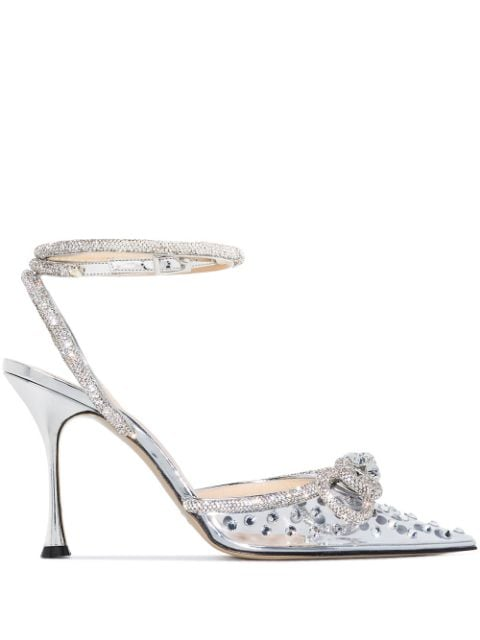 MACH & MACH Double Bow 100mm crystal-embellished pumps