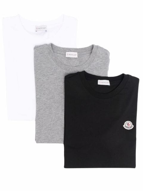 Moncler logo-patch three pack T-shirts