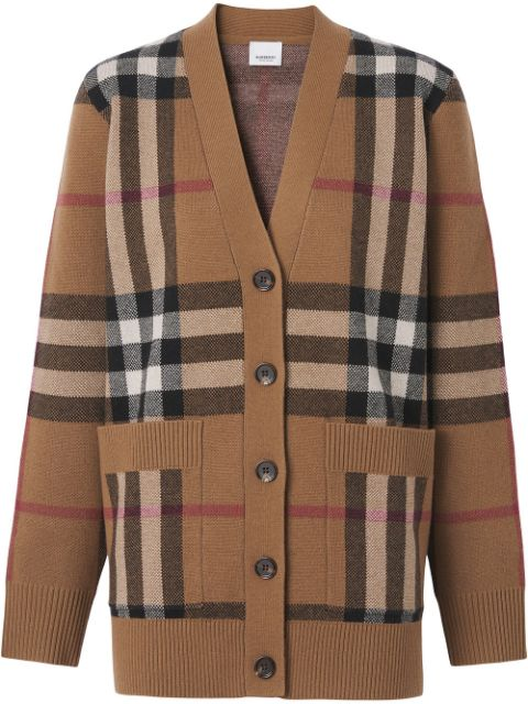 Burberry checked wool-cashmere blend cardigan