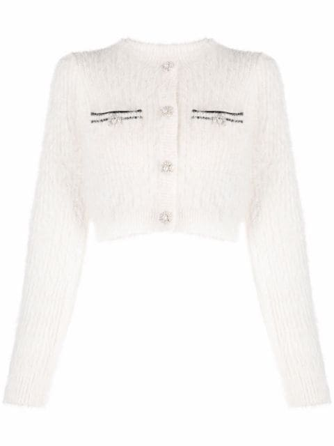 Self-Portrait fluffy cropped knitted cardigan