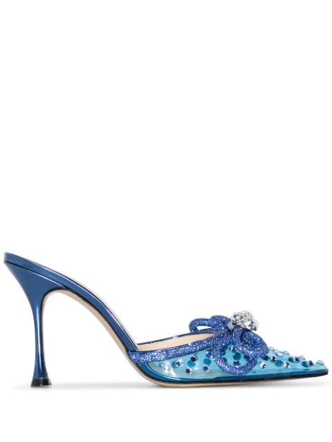 MACH & MACH Double Bow 100mm crystal-embellished mules