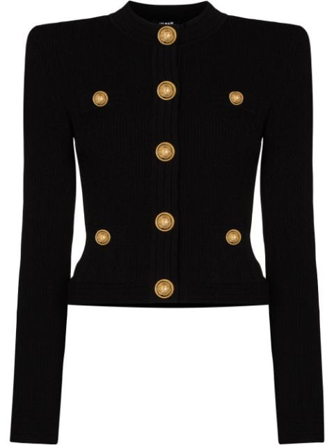 Balmain structured shoulders cropped cardigan