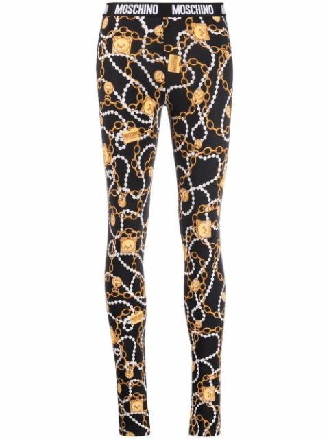 Moschino cropped chain-link print leggings