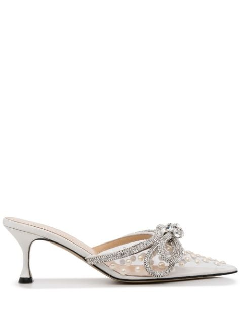 MACH & MACH Bow detail embellished mules