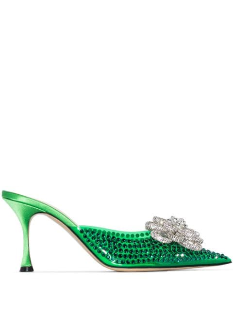 MACH & MACH Carrie crystal-embellished 85mm mules