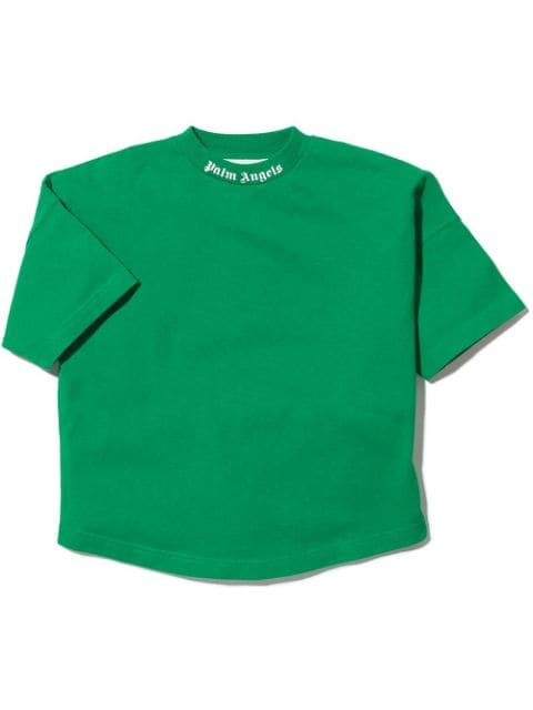Palm Angels Kids CLASSIC OVER LOGO TEE S/S GREEN WHITE